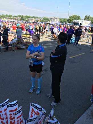 Talking about the run with Eladio (Image: N,. McRoberts)