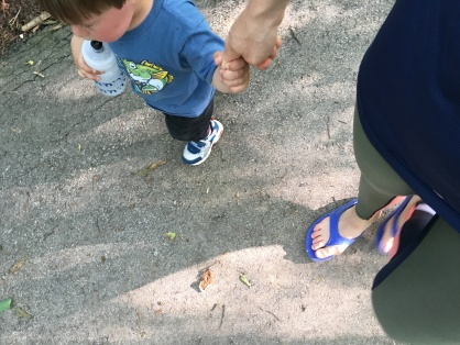 Walking around the park with little man - full recovery mode with my OOFOS sandals and SKINS DNAmic Compression