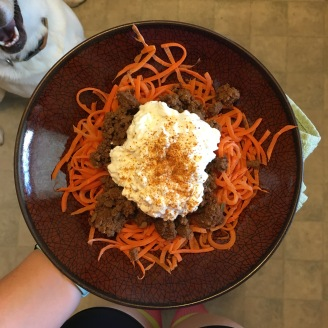 spiralized carrot, venison, cottage cheese