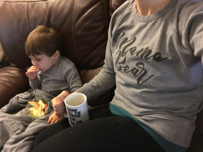 Relazing with little man and some coffee :)