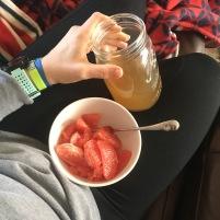 Snack: grapefruit and kombucha